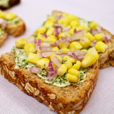 Corn & Red Onion Toast Topper